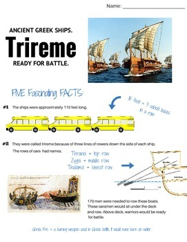 Greek Trireme (Greek Ships): Informative Text, Questions a