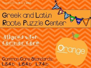 Orange Greek and Latin Roots Puzzle Center CCSS & American