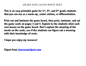 Greek and Latin Root Word Sort Game
