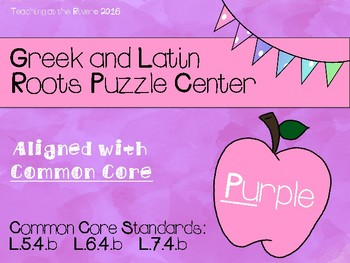 Purple Greek and Latin Roots Puzzle Center CCSS & American
