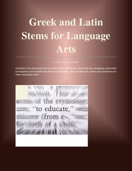 Greek and Latin Stems for Middle School - A Nine-Week Program
