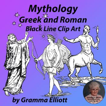 Greek and Roman Mythology Clip Art in Black Line Realistic