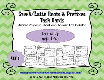 Greek/Latin Roots and Prefixes Task Cards (SET 1)