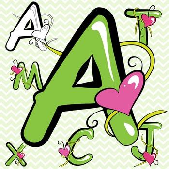Green Alphabet Letters Clip Art - Valentine's Day!