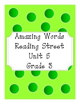 Reading Street Amazing Words Unit 5-Grade 3 (Green Polka Dot)