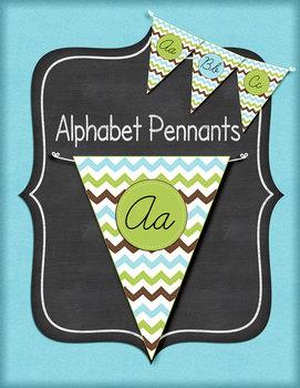 Green, Brown, and Blue Chevron Cursive Alphabet Pennants