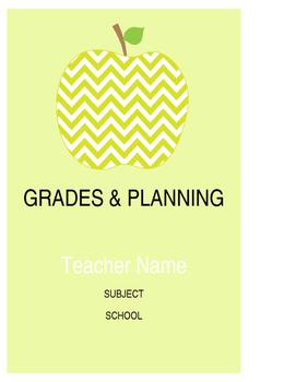 Green Chevron Apples Grade Book & Planning Sheets PRINTABLES
