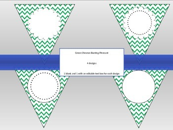 Green Chevron Bunting--EDITABLE text and size, 4 designs