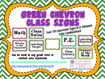 Green Chevron EDITABLE Classroom Signs