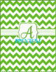 Green Chevron Monogrammed Book Covers