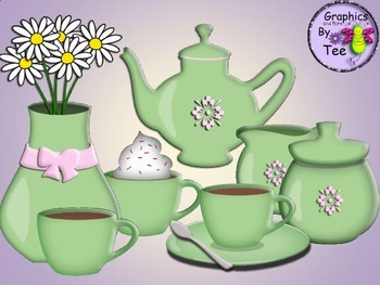 Green Coffee Set Clipart