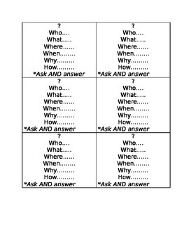 Green Comprehension Question Cards
