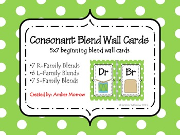 Green Consonant Blend Wall Cards