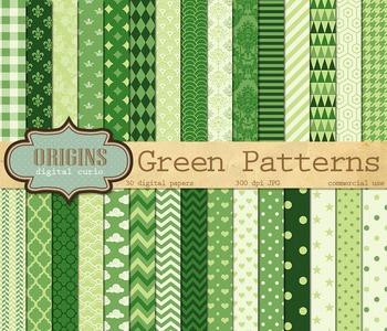 Green Digital Scrapbook paper, green classic patterns, pri