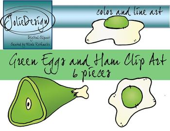 Green Eggs And Ham Clipart - 6 piece set