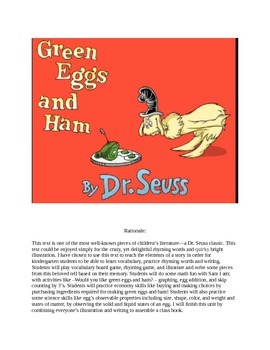 Green Eggs and Ham Kindergarten Thematic Unit