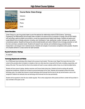 Green Energy Syllabus - Full NGSS & CCSS