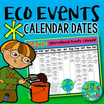 Green Events Calendar Freebie - environmental dates from a