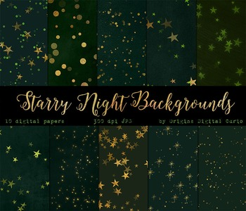 Green Forest Starry Night Digital Paper Green and Gold Sta
