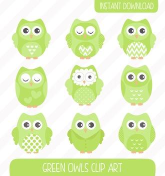 Green Owls Clip Art