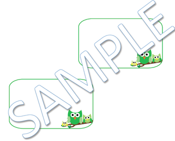 Green Owls Name Tags