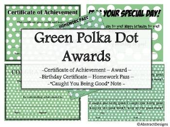 Green Polka Dot Awards Set