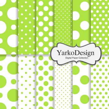 Green Polka Dot Digital Scrapbooking Paper Set, 12 Digital