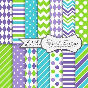 Green Purple And Turqoise Geometric Digital Paper Set, 14