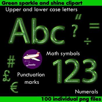 Alphabet Clip Art Green Sparkle & Shine , Punctuation, Mat