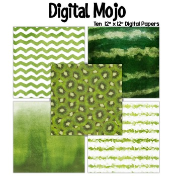 Green Watercolor Grunge Digital Papers (Watermelon and Lim