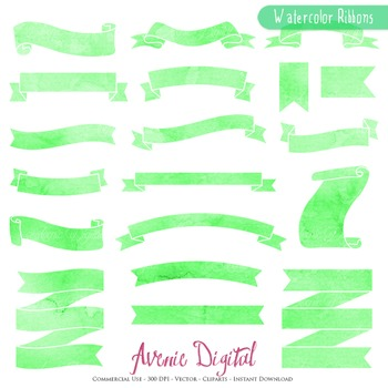 Green Watercolor Ribbon Banners clip art - ribbons clipart