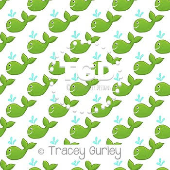 Green Whale on White digital paper Printable Tracey Gurley
