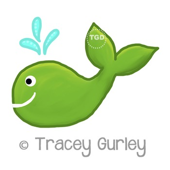 Green Whale - green whale clip art Printable Tracey Gurley