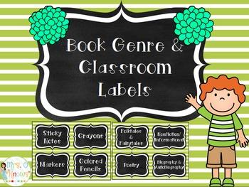 Green & White Striped Classroom Organization Labels
