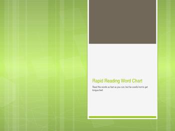 Green Word Rapid Reading Chart