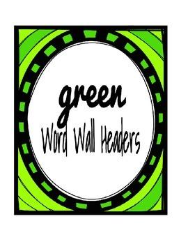 Green Word Wall Headers