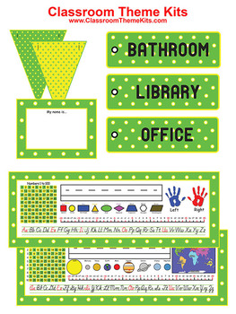 Green Yellow Dots Classroom Theme Kit