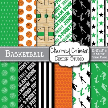 Green and Black Basketball Digital Paper 1259