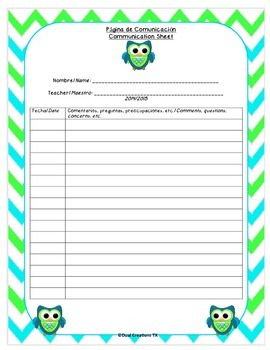 Green and Blue Communication Sheet
