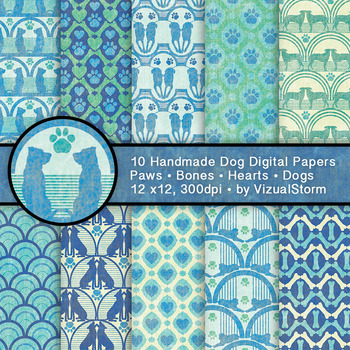 Green and Blue Dog Backgrounds - 10 Handmade Printable Pet