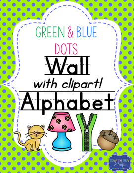 Green and Blue Dots Alphabet cards-  Custom Color Requests