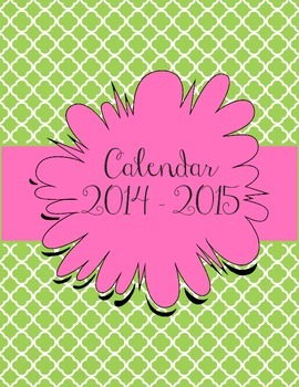 Green and Pink Calendar July 2014 - July 2015