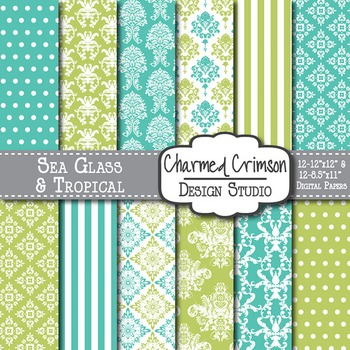 Green and Teal Damask Digital Paper 1122