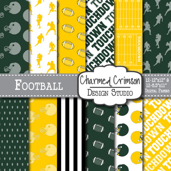 Green and Yellow Football Digital Paper 1431