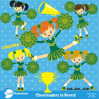 Clipart, Cheerleader clipart, Cheerleaders in green clip a