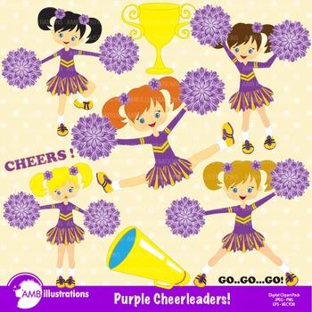 Clipart, Cheerleader Clipart, Cheerleaders in Purple AMB-212