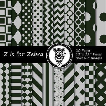 Green/Grey dual tone Digital Paper Pack 2 - CU ok { ZisforZebra}