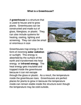 Greenhouse Common Core Reading and Writing Activities