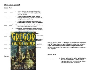 Gregor the Overlander Anticipation Guide