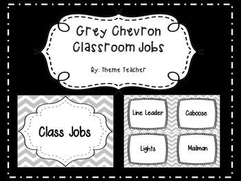 Gray Chevron Classroom Jobs